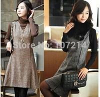 2014 New Autumn Winter Big Plus Size Women Office Dress Woolen Sleeveless Vestidos Work Wear Plaid Dress Brown,Grey S~3XXXL,4XL