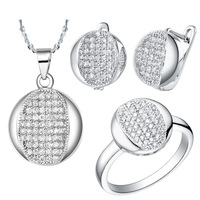 Best Quality Platinum Plated Jewelry Set,Fashion Crystal Necklace & Rings & Earrings,Wholesale Fashion Jewelry,DGYT007