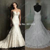 OUMEIYA ORW417 Sweetheart Lace Buttons Back Real Sample Mermaid Wedding Dress China