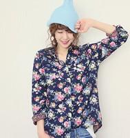 2014 Autumn new Ms. Korean shirt Small fresh denim flower  shirt  Free shipping