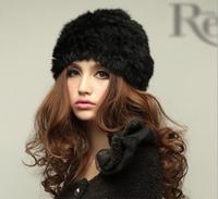 2014 New Style Genuine Knitted Rex Rabbit Fur Hat Natural Rabbit Real Fur hat Handmade natural winter rabbit fur hat