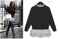 2014 Autumn Winter fashion sweet Free Size women wild dresses Hedging sweater Collar looser long-sleeved Girl dress free shippin