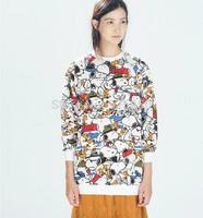 new arrival fashion 2014 autumn winter women cute cotton pullover long sleeve cartoon print casual hoodie sweatshirt
