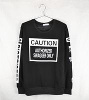 fashion 2014  sweatshirts long sleeve caution autumn brand crewneck racksuit sportswear letter sweater clothes for men