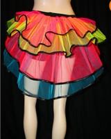 summer arrival 2014 New bodycon lace  tunic patchwork  club chiffon A sense of hierarchy  Rainbow Mesh Stripe Skirt