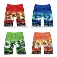 Big Sale 2014 Summer New Mens Casual Beach Swimwear Printing Coconut Tree Shorts Quick Dry Sports Short Pants Free Shipping