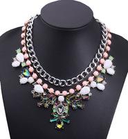 2014 Influx of Women Temperament flowers mixed Resin Statement Big Necklace Necklaces & Pendants