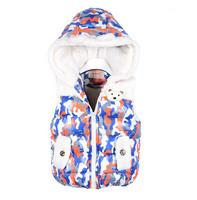 girls winter Vest Children autumn Outerwear Kids flower Vest Girl flower hoodie Coat Girl Soft Waistcoat a-072