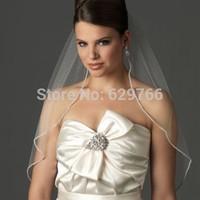 New Ivory/White 1T 90 CM Length Rhinestone Edge Wedding Bridal Veil With Comb