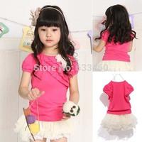 Toddler Kids Girl Gift Short Sleeve Ruffle T-Shirt +Lace Tutu Mini Dress Set