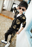 2014 new  fashion Children spring  fall personality boy skull long sleeve + haroun pants suit