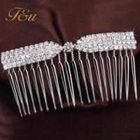 Fashion Beauty Lady Silver Bowknot Hair Comb Clip Cuff Crystal Head Headpiece Boho #905