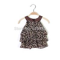 Toddler Kid Girls Leopard Zebra Strap Dress Cotton Layered Princess Dress Summer