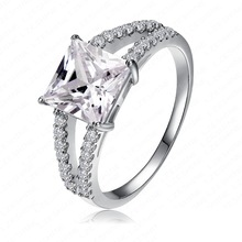 High Quality Ring Real 18K Gold Platinum Plated Micro Pave Clear AAA Swiss Cubic Zircon Fashionable