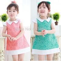 3-8Y Kid Girls Tulle Knitted Flower Dress Toddler Lapel Cap Sleeve Pencil Dress