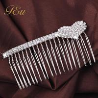 Full Colors Crystal Rhinestone Petal Tuck Comb Women Heart Hair Pin Hair Clip Headwear Accessories E-Sunny Jewelry #139