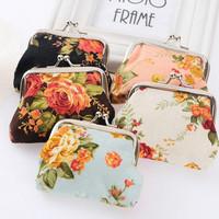 Women Cloth Mini Floral Flower Zebra Leopard Coin Purse Wallet Change Case Bag