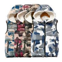 Fall Winter Coat Jacket Women Camo Cotton Lamb Fur Plus Velvet  Office Vest Warm Hooded Vest Female Fashion Ladies' Waistcoats