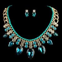 Luxury Crystal Chokers Necklace Set  Rehinestone Resin Rope Chain For Women Gift Handmade Jewelry