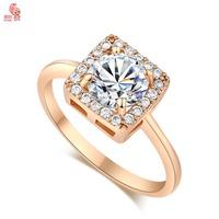 New Arrival  Fashion 18K Gold Crystal  Square Romantic Wedding Ring For Women High Quality KUNIUJ1693