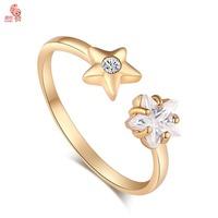 New Arrival  Fashion 18K Gold  Crystal  Cute Star Wedding Ring For Women High Quality KUNIUJ1526