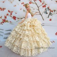 Light Yellow Wedding Dress For  Barbie Doll