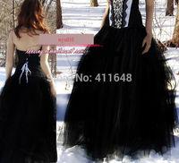 Elegant Long Balley Gauze Tulle Balley Pincess TUTU Skirt Black White Champagne Dance Wear Free Shipping Wholesal Retail