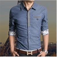 Free Shipping 2014 Hot Mens Shirts,Men's dress Shirts,Men's Casual Fit Stylish long-sleeved Shirts Big Size:M-XXXXL 6 Colors