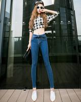2014 New In Fashion Women Jeans Korean Style All Match Bow Waist Decoration Super Slim Female Long Pencil Denim Pants Plus Size