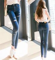 2014 New In Fashion Women Jeans Korean Style Middle Waist Holes Decoration Slim Female Long Pencil Denim Pants Plus Size