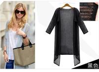 2014 Fall Winter newest free size Outside ride lady sunscreen shirt Bat sleeve Pierced women sweater female cardigan thin coat
