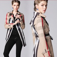 2014 Autumn And Winter British Style Turn-Down Collar Long-sleeved Double-Breasted Slim Plaid Tie Women Coats Free Shipping