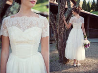 2014 Summer White or Ivory Lace Short Sweetheart neck Wedding Dress Bridal Party Gown with Lace Jacket Custom made Free Shipping
