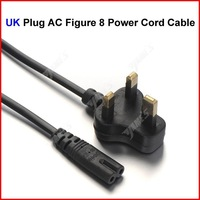 ( 100 pcs/lot ) UK Plug AC Figure 8 Power Cord Cable 1.2m 4FT For Battery Charger AC Power Adapter Laptop Wholesale