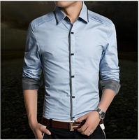 Promotion +Free Shipping ! 2014 New Fashion Casual Grid long-sleeved mens shirts, Fashion Leisure styles lim fit shirts HB8823