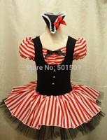 Free ship girls childrens Female Pirates ballet leotard princess tutu dress fairy tale stripe dress