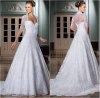 Custom Made Vestido de Noiva 2014 A-Line Lace Wedding Dress with Jacket Vestido de Casamento Vestido de noiva Sereia