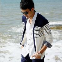 2014 Autumn European Style Brand Men's Stripe Sweater 100% Cotton Casual Sweater Knitted Men Cardigans Sweater