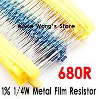 (200Pcs/Lot) 1/4W 680 ohm +/- 1% resistor 1/4w 680R ohm Metal Film Resistors / 0.25W color ring resistance