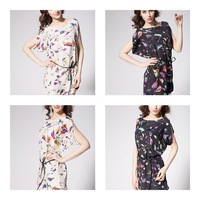 Newest women clothing short sleeve o-neck bird print chiffon plus size dresses with belt s-xxl