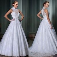 Brazil Romantic Custom Made Vestidos de Noiva 2014 A-Line Wedding Dresses High Neck Vestido de Casamento Sexy Bridal Gown