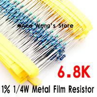 (200Pcs/Lot) 1/4W 6K8 ohm +/- 1% resistor 1/4w 6.8K ohm Metal Film Resistors / 0.25W color ring resistance