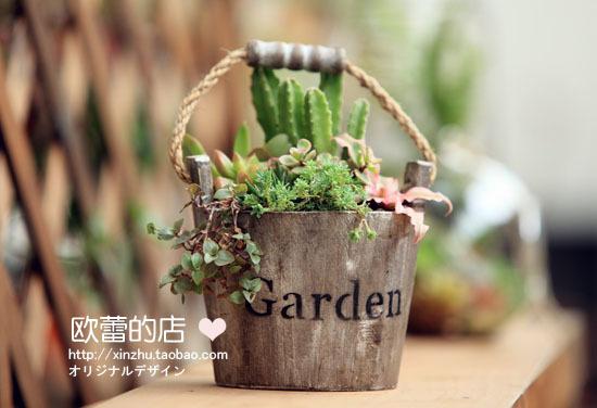 wooden hanging Succulents potted flower vase flower bucket zakka fleshy plant container / retro fleshy flower pot(China (Mainland))