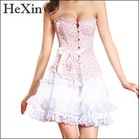 Pink polka dot Corset top overbust bustier straitjacket korsett body shaper corpete corselet espartilho 4450