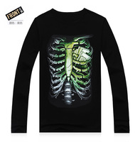 Europe And The United States Men's 3D Creative Cotton Long Sleeve T-Shirt Street Clothes Man 3D Skull T-Shirt