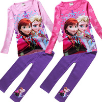 Hot  New  FROZEN  Ice Romance Cotton casual clothing Long-sleeved T shirt + leggings Girls' suits