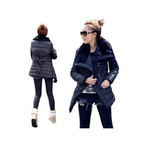 2014 New Fashion women winter coat Fashion Long Style Large fur collar Single-breasted Thicken back big bow women winter jacket