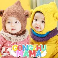 Children's caps sets winter new  Flannel hat with cute ears  Christmas hats baby scarf hat suit  2 pcs sets ETJ-A0212