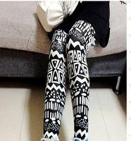 big size Drop 2014 winter combed personality flower totem pants pantyhose leggings Fashion Girls