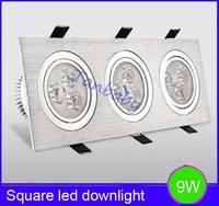 Free shipping  Square Aluminum led fixture light 9W Epistar chip led light spot down light luminarias home decoration